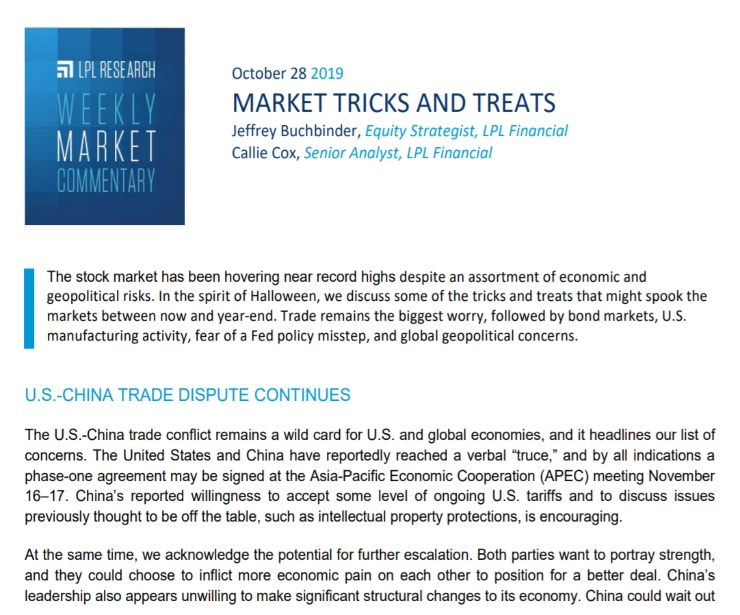 Market Tricks and Treats | Weekly Market Commentary | October 28, 2019
