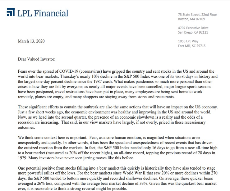 Client Letter   Managing Volatility   March 13, 2020