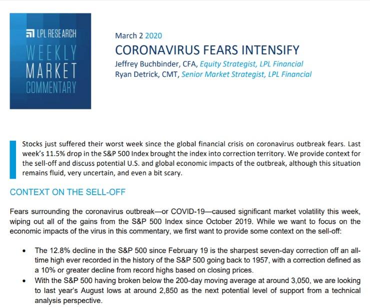 Coronavirus Fears Intensify | Weekly Market Commentary | March 2, 2020