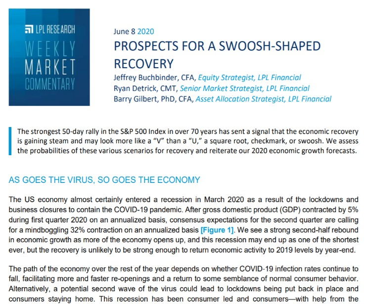 Prospects for a Swoosh-Shaped Recovery   Weekly Market Commentary   June 8, 2020