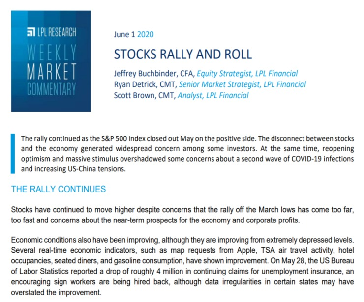 Stocks Rally and Roll   Weekly Market Commentary   June 1, 2020