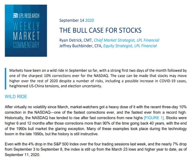 The Bull Case for Stocks   Weekly Market Commentary   September 14, 2020