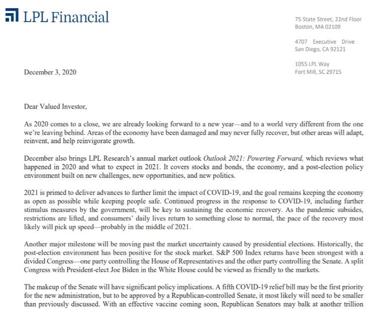 Client Letter | Outlook for 2021 | December 3, 2020