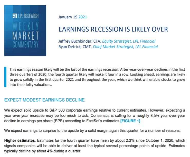 Earnings Recession is Likely Over | Weekly Market Commentary | January 19, 2021
