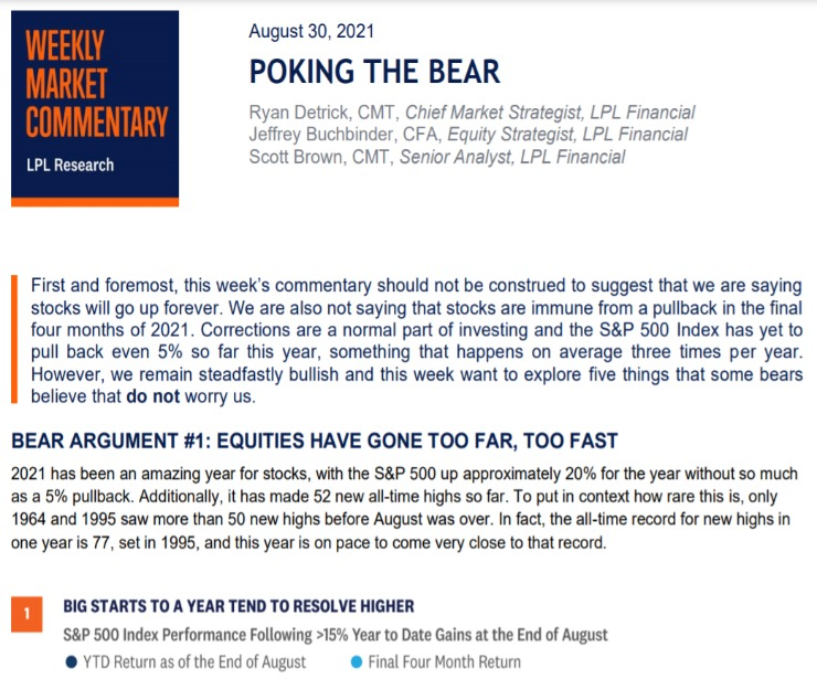 Poking The Bear | Weekly Market Commentary | August 30, 2021